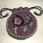 Beaded purse Purple c. 1910 round shape