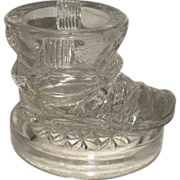 SOLD Glass Boot Inkwell, Match, Toothpick 1887