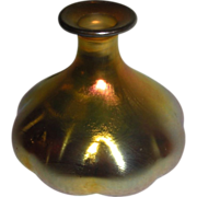 Steuben Aurene Perfume Bottle melon shape needs stopper
