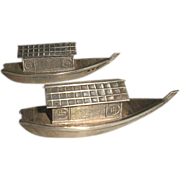 Sterling Figural Salt and Pepper Boats Japanese