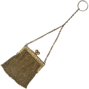 Gilt Sterling chain mail Chatelaine purse