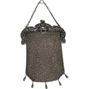 Sterling Silver Mesh Purse Chatelaine loop