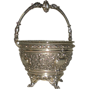 SOLD 800 silver Ornate Basket, Women's faces Dolphins