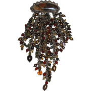 Julie Shaw artist jewelry pin Sterling, 14K, brown pearls, gemstones