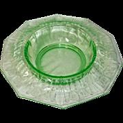 "Cambridge Cleo Decagon Vaseline Green 16 "" Huge Bowl"