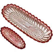 Baccarat Rose Tiente pair oval bowls dresser trays