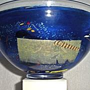 Kosta Boda Bertil Vallien art glass bowl multicolor inclusions