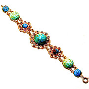 Made in Austria Signed Turquoise Glass Cabochons Bracelet