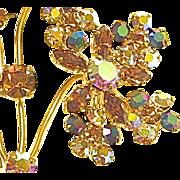 Champagne Colored and Dark Aurora Rhinestone Brooch