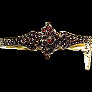 Victorian Rose Cut Bohemian Garnets Hinged Bangle Bracelet