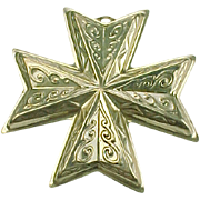 REDUCED Sterling Silver Reed & Barton Christmas Cross Ornament 1977