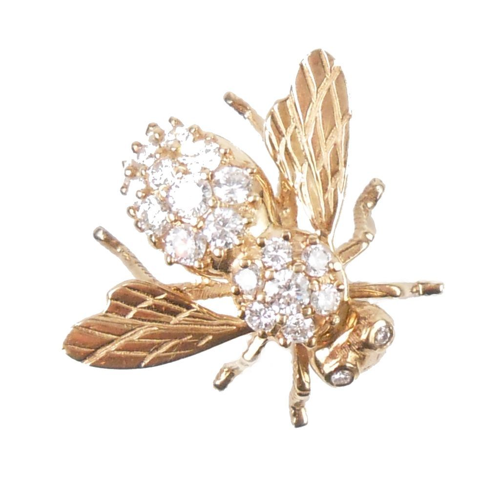 Vintage Honey Bee Brooch 14k Gold 1 71 Ctw Diamond From