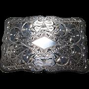 Vintage Sterling Silver Hand Engraved Belt Buckle circa 1930's