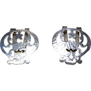 Pair of Gorgeous STERLING SILVER G.H.French&Co. Hammered Vintage Napkin Holders