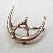 SALE Edwardian Brooch Crescent Moon & Wishbone 10k Gold