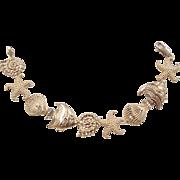 REDUCED Vintage 14k Gold Nautical Bracelet ~ Shells, Starfish and Fish