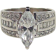 REDUCED Vintage 14k White Gold 2.48 Carats Faux Diamond Ring