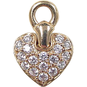 REDUCED Vintage 14k Gold Faux Diamond Heart Pendant ~ or Hoop Earring Attachments