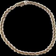 """REDUCED Vintage 14k Gold Rope Bracelet ~ 7 3/8"""""""