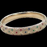 REDUCED Vintage 14k Gold Enamel Hinged Bangle Bracelet