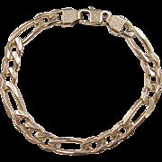 """REDUCED Vintage 14k Gold Men's Figaro Link Bracelet ~ 8 5/8"""" ~ 27.1 Grams"""