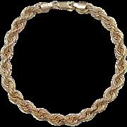 """REDUCED Vintage 10k Gold Rope Bracelet ~ 8 5/8"""""""