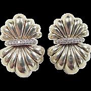 SALE Vintage 14k Gold Puff Diamond Post Earrings