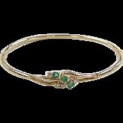 SALE Vintage 14k Gold Natural Emerald and Diamond Hinged Bangle Bracelet
