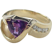SALE Vintage 14k Gold Amethyst and Diamond Ring