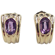 SALE Vintage 14k Gold Amethyst Earrings