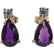 SALE Vintage 14k Gold 2.70 ctw  Amethyst and Faux Diamond Stud Earrings