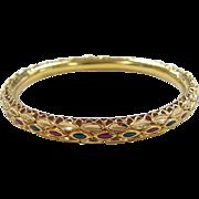 SALE Vintage 22k Gold Enamel Bangle Bracelet