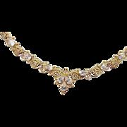 SALE Vintage 22k Gold Faux Diamond Necklace