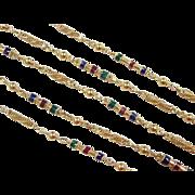 """SALE Vintage 22k Gold Colorful Station Necklace ~ 23 3/4"""" ~ 17.6 Grams"""