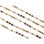 "SALE Vintage 22k Gold Colorful Station Necklace ~ 23 3/4"" ~ 17.6 Grams"