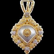 SALE Vintage 22k Gold Two-Tone Pendant