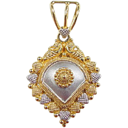 SALE Vintage 22k Gold Two-Tone Pendant