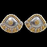 SALE Vintage 22k Gold Two-Tone Earrings