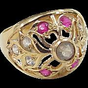 SALE Vintage 22k Gold Quartz, White Sapphire and Ruby Ring