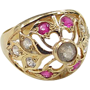 SALE Vintage 22k Gold Quartz, White Sapphire and Ruby Ring