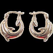 SALE Vintage 14k Gold Dolphin Hoop Earrings