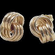 SALE Vintage 14k Gold Love Knot Stud Earrings