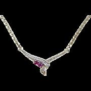 "SALE Vintage 14k Gold Ruby and Diamond Necklace ~ 16 1/2"""