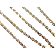 """SALE Vintage 14k Gold Solid Rope Chain ~ 20"""" ~ 26.4 Grams"""