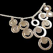 "SALE Vintage 14k Gold Circle Dangle Necklace 18"""