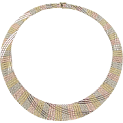 "SALE Vintage 14k Gold Tri-Color Necklace 17"" ~ 37.7 Grams"
