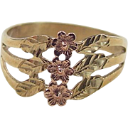 REDUCED Vintage 10k Gold Two-Tone Flower Ring