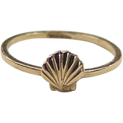 REDUCED Vintage 18k Gold Shell Ring