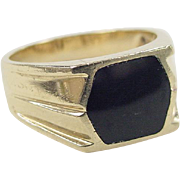 REDUCED Vintage 14k Gold Onyx Inlay Ring