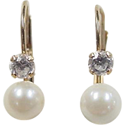 REDUCED Vintage 14k Gold Faux Diamond and Cultured Pearl Earrings